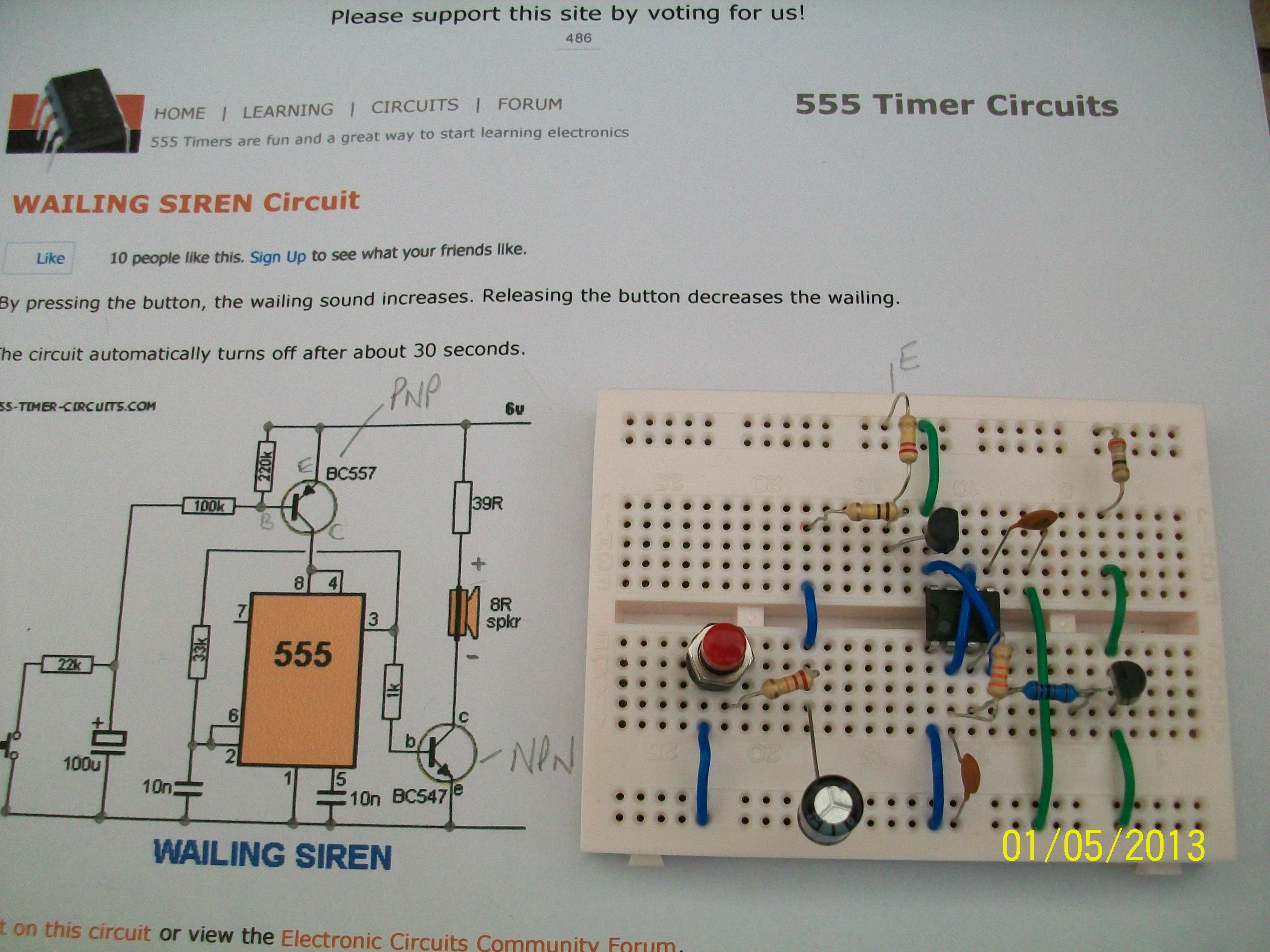 Wailing Siren 555 Timer Circuits Forum Electronic Circuit Diagram 100 2171